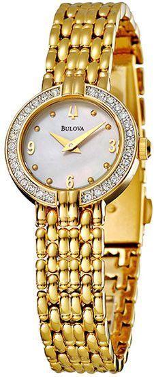 Ceas de damă Bulova Crystal Gold-Tone 98V13