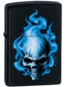 Bricheta Zippo Blue Flame Skull 0414