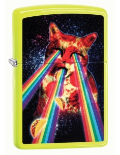 Bricheta Zippo 29614 Pizza Cat Rainbow Neon Yellow