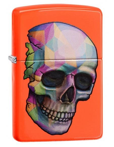 Bricheta Zippo 29402 Skull Neon Orange Finish