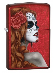 Bricheta Zippo 28830 Day of Dead Girl Rose Candy Apple Red