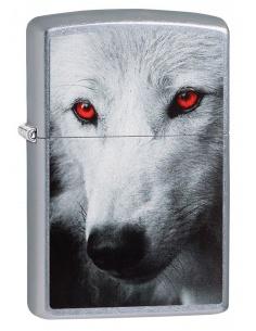 Bricheta Zippo 28877 White Wolf w/ Red Eyes