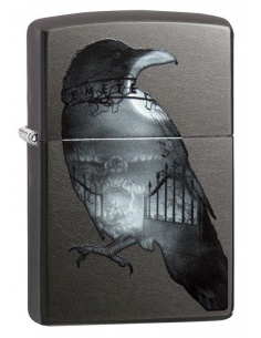 Bricheta Zippo 29407 Double Exposed Raven Cemetery
