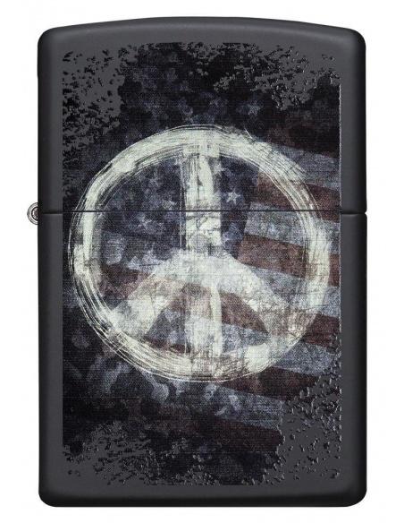 Bricheta Zippo 28864 Peace Sign on USA Distressed Flag