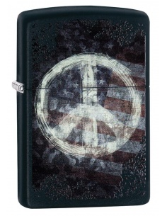 Bricheta Zippo 28864 Peace Sign on USA Distressed Flag