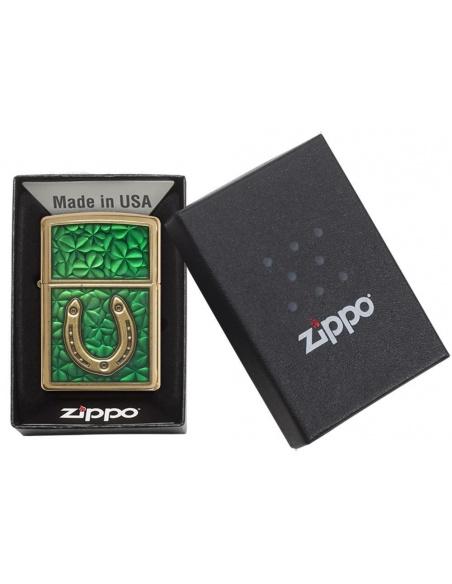 Bricheta Zippo 29243 Horseshoe on Shamrock Pattern Emblem