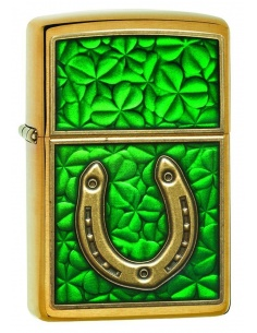 Bricheta Zippo 29243 Horseshoe on Shamrock Pattern Emblem