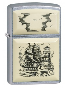 Bricheta Zippo 29397 Scrimshaw Ship Lighthouse