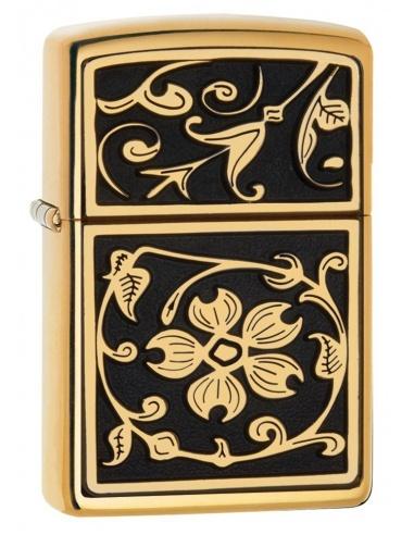 Bricheta Zippo 20903 Gold Floral Flourish Emblem