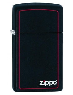 Bricheta Zippo 1618ZB Slim Black Matte with Red Border