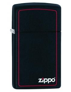 Bricheta Zippo 1618ZB SlimBlack Matte with Red Border