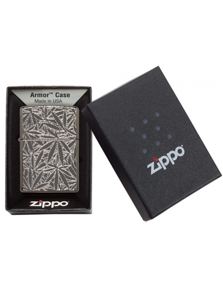 Bricheta Zippo 29834 Deep Carved Marijuana Leaves