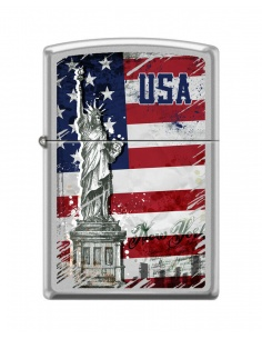 Bricheta Zippo 5025 Statue of Liberty & USA Flag