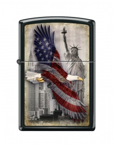 Bricheta Zippo 2102 Eagle-Flag-New York City-Statue of Liberty