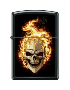 Bricheta Zippo 6114 Flaming Skull