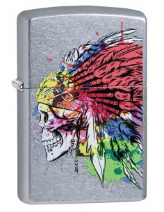 Bricheta Zippo 49111 Skull with Headdress Design