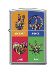 Bricheta Zippo 7816 Hippie Symbols