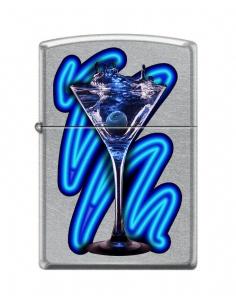 Bricheta Zippo 3686 Blue Cocktail Martini Glass