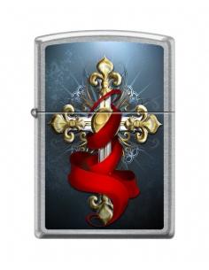 Bricheta Zippo 3444 Cross With Red Ribbon